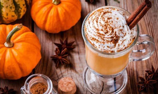 two pumpkins and a coffee mug